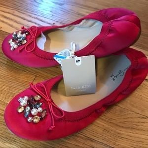 Girls Zara red dressy ballet slippers NWT